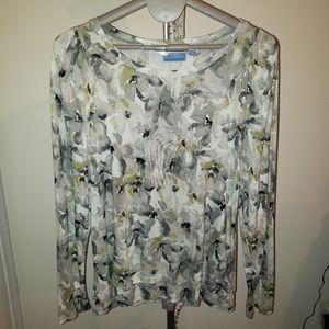 Vera wang long sleeve floral tunic length top xl